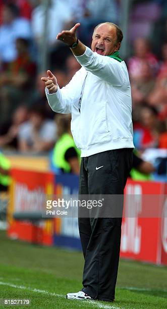 Luiz Felipe Scolari, head coach of Portugal shouts instructions from the sidelines during the UEFA EURO 2008 Group A match between Czech Republic and...