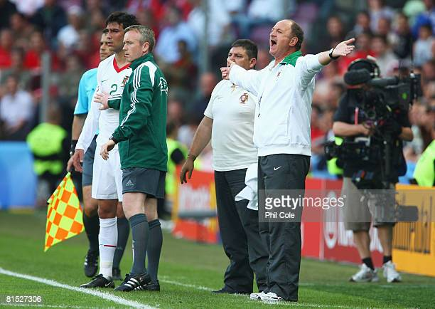 Luiz Felipe Scolari, head coach of Portugal shouts on the sidelines during the UEFA EURO 2008 Group A match between Czech Republic and Portugal at...