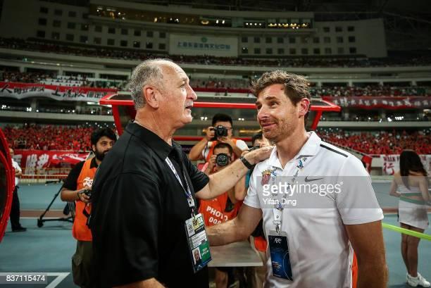 Luiz Felipe Scolari headcoach of Guangzhou Evergrande and Andre VillasBoas head Coach of Shanghai SIPG greet piror to the AFC Champions League 2017...