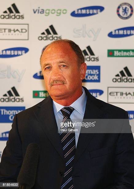 Luiz Felipe Scolari is unveiled as new Chelsea manager at a press conference held at the Hilton Cobham Hotel on July 8, 2008 in Cobham, England.