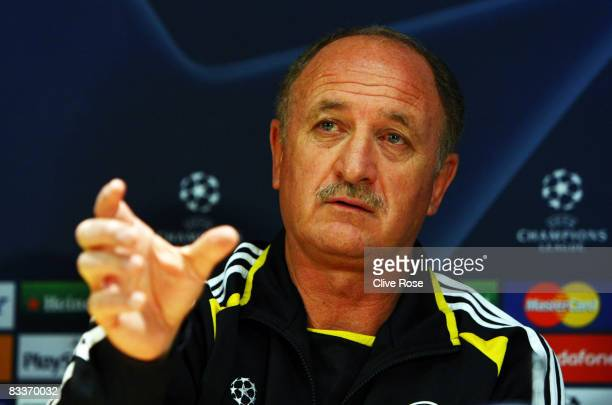Luiz Felipe Scolari of Chelsea talks to the press during a press conference before the UEFA Champions League match between Chelsea and Roma, at...
