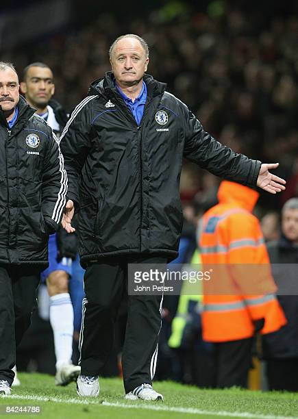 Luiz Felipe Scolari of Chelsea walks off at the end of the Barclays Premier League match between Manchester United and Chelsea at Old Trafford on...