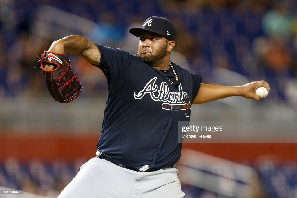 Luiz Gohara #53 of the Atlanta Braves delivers a pitch in the ninth inning against the Miami Marlins at Marlins Park on May 10, 2018 in Miami, Florida.