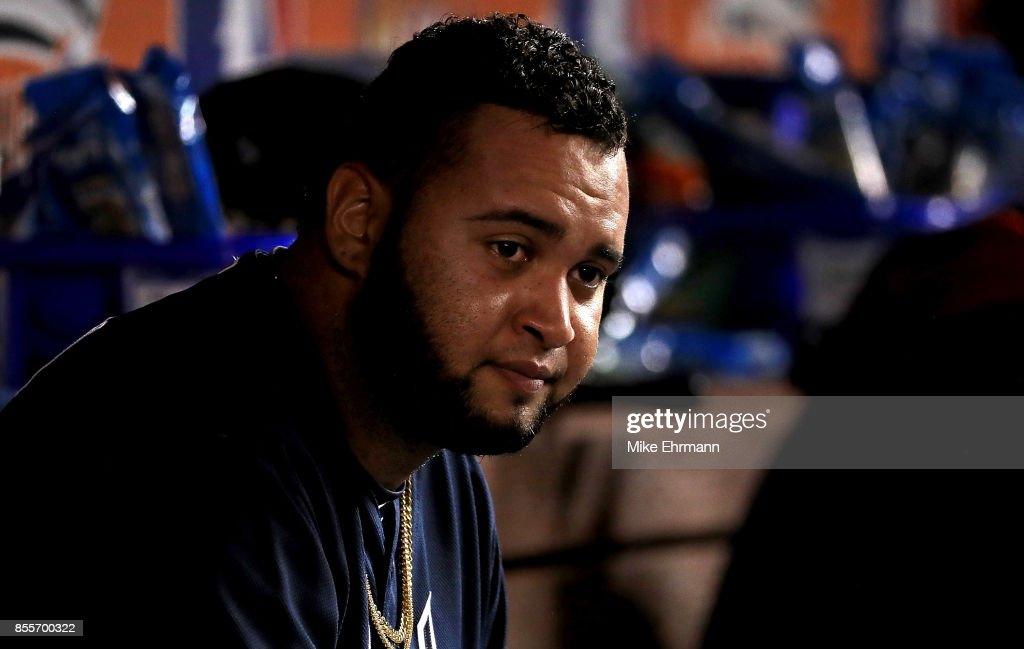 Luiz Gohara #64 of the Atlanta Braves looks on during a game against the Miami Marlins at Marlins Park on September 29, 2017 in Miami, Florida.