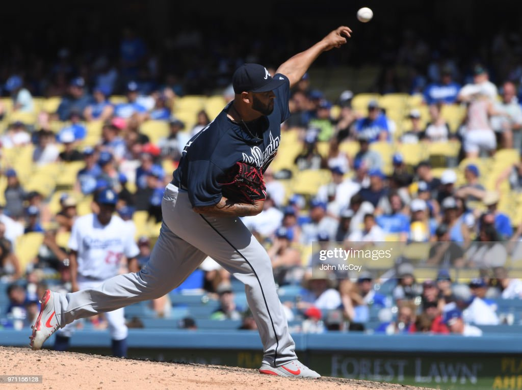 Luiz Gohara #53 of the Atlanta Braves pitches in the eighth inning against the Dodgers at Dodger Stadium on June 10, 2018 in Los Angeles, California.