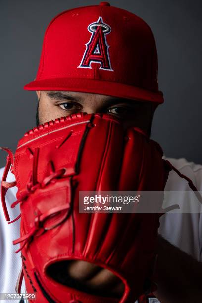 Luiz Gohara of the the Los Angeles Angels poses for a photo during Photo Day at Tempe Diablo Stadium on February 18 2020 in Tempe Arizona
