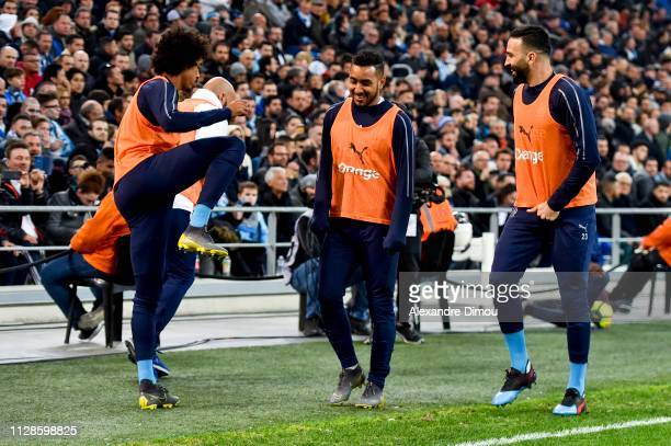 Luiz Gustavo and Dimitri Payet and Adil Rami of Marseille during the Ligue 1 match between Olympique Marseille and AS Saint Etienne on March 3 2019...