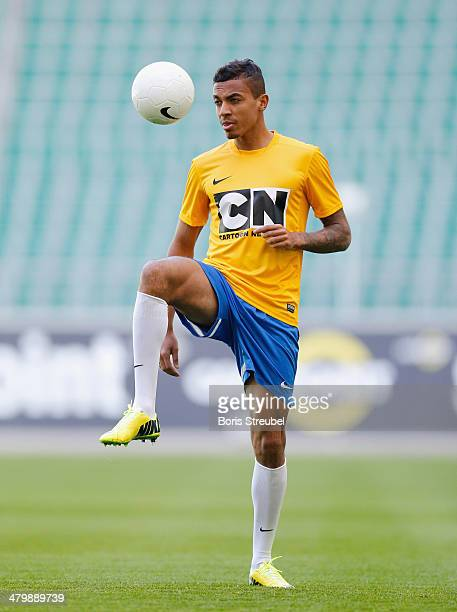 Luiz Gustavo attends a shoot for Cartoon Network's competition 'Cartoon Network Academy 2014' at the VfL Wolfsburg Volkswagen Arena on March 20 2014...