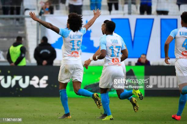 Luiz Gustavo celebrate goal during Olympique de Marseille v Nimes Olympique - Ligue 1 at Stade Velodrome on April 13, 2019 in Marseille, France.