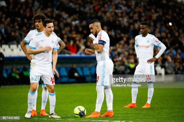 Luiz Gustavo Florian Thauvin and Dimitri Payet of Marseille during the Ligue 1 match between Olympique Marseille and Nantes at Stade Velodrome on...