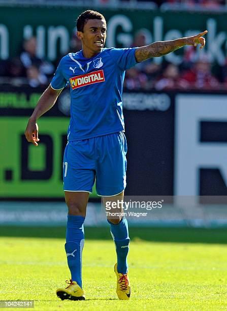 Luiz Gustavo of Hoffenheim celebrates after scoring the first goal during the Bundesliga match between 1FC Kaiserslautern and TSG 1899 Hoffenheim at...