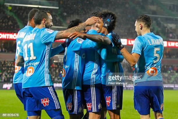 Luiz Gustavo of Marseille celebrates scoring his goal during the Ligue 1 match between Metz and Olympique Marseille at Stade Saint Symphorien on...