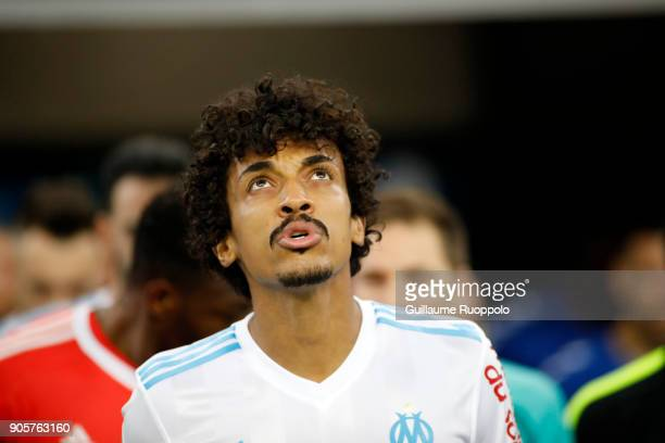 Luiz Gustavo of Marseille during the Ligue 1 match between Olympique Marseille and Strasbourg at Stade Velodrome on January 16 2018 in Marseille