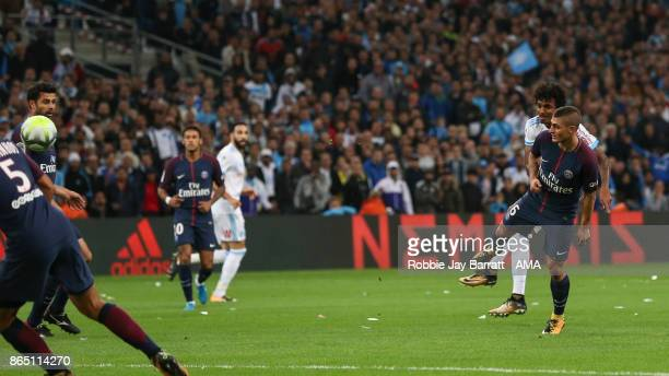 Luiz Gustavo of Marseille scores a goal to make it 10 during the Ligue 1 match between Olympique Marseille and Paris Saint Germain at Stade Velodrome...