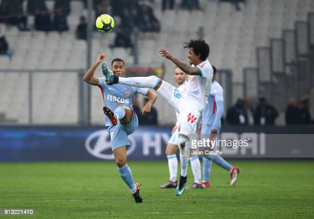 Luiz Gustavo of OM Youri Tielemans of Monaco during the French Ligue 1 match between Olympique de Marseille and AS Monaco at Stade Velodrome on...