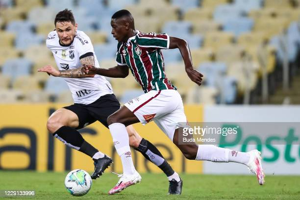 Luiz Henrique of Fluminense struggles for the ball with Tiago of Ceara during a match between Fluminense and Ceara as part of 2020 Brasileirao Series...