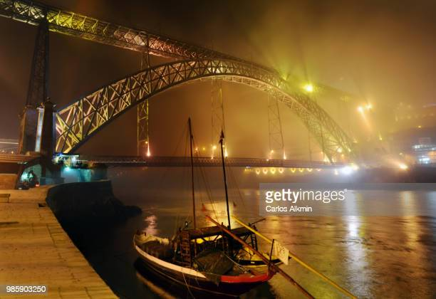 D. Luiz I Bridge and Ribeira Wharf on a Foggy Night - Porto, Portugal