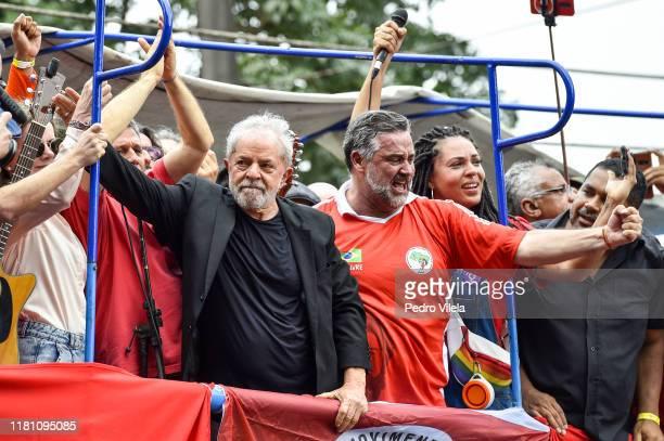Luiz Inacio Lula da Silva Brazil's former president outside of the Sindicato dos Metalurgicos do ABC on November 9 2019 in Sao Bernardo do Campo...