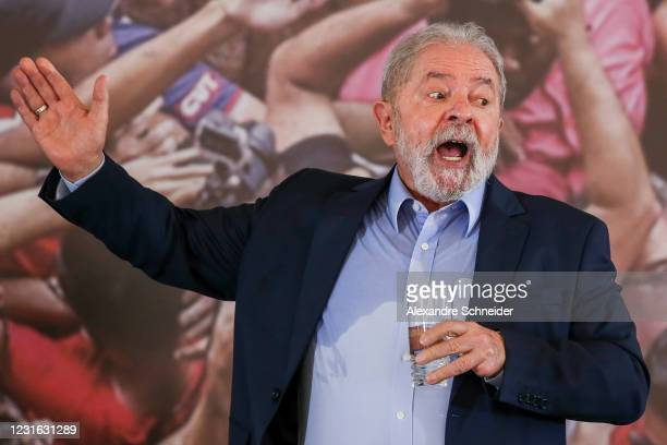 Luiz Inacio Lula da Silva, Brazil's former president, speaks during a press conference after convictions against him were annulled at the Sindicato...