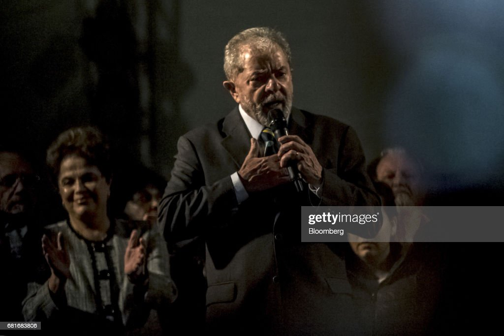 Luiz Inacio Lula da Silva, former president of Brazil, delivers a speech after testifying before Sergio Moro, the lead jurist in the sprawling corruption probe known as Operation Carwash, in Curitiba, Brazil, on Wednesday, May 10, 2017. Thousands of Brazilians are descending on the southern city of Curitiba before a showdown between one of the most popular leaders in the country's history and its most famous judge at a hearing that could determine the republic's future. Photographer: Dado Galdieri/Bloomberg via Getty Images