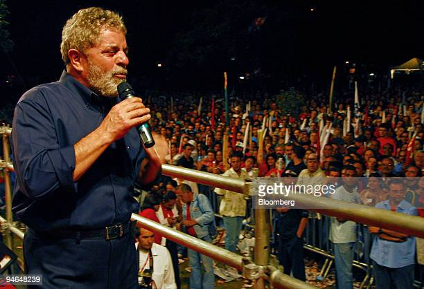 Luiz Inacio Lula da Silva president of Brazil speaks at a rally in Sao Bernardo do Campo Brazil Thursday September 28 2006 Lula is set to coast to a...