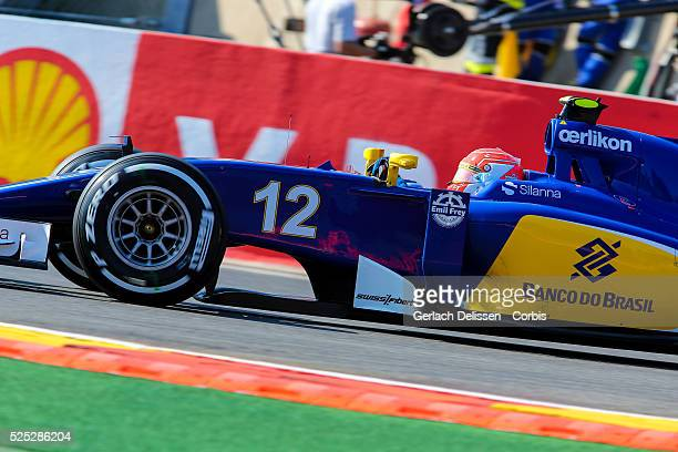 Luiz Nasr of the Sauber F1 Team during the 2015 Formula 1 Shell Belgian Grand Prix free practise 1 at Circuit de Spa-Francorchamps in Belgium, August...