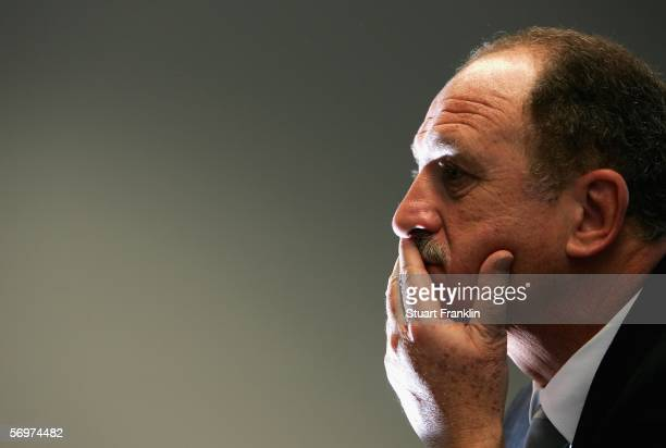 Luiz Scolari, Coach of Portugal ponders a question during the press conference after the international friendly match between Saudi Arabia and...