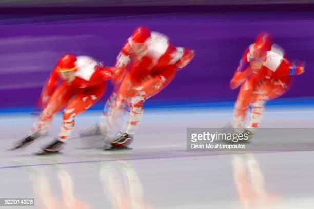 Luiza Zlotkowska Natalia Czerwonka and Karolina Bosiek of Poland compete during the Speed Skating Ladies' Team Pursuit Final D on day 12 of the...