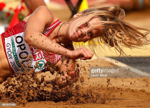Luize Opola of Latvia competes at the long jump of the heptathlon competition during European Atletics U18 European Championship on July 6 2018 in...