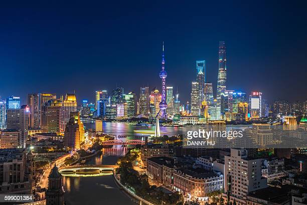 lujiazui district and Shanghai bund at night,Shanghai,China