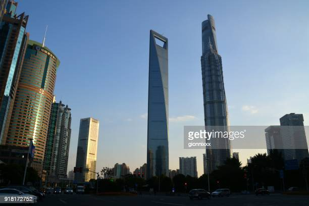 lujiazui finance and trade zone, shanghai, china - trapezoid stock pictures, royalty-free photos & images