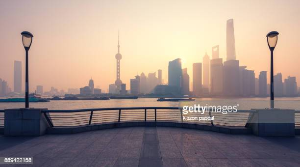 Lujiazui financial district in Shanghai in morning , China , Asia