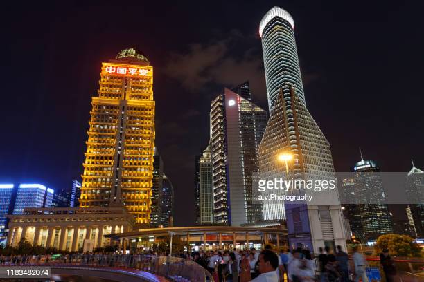 lujiazui, most attractive place in shanghai. - andre vogelaere stock pictures, royalty-free photos & images