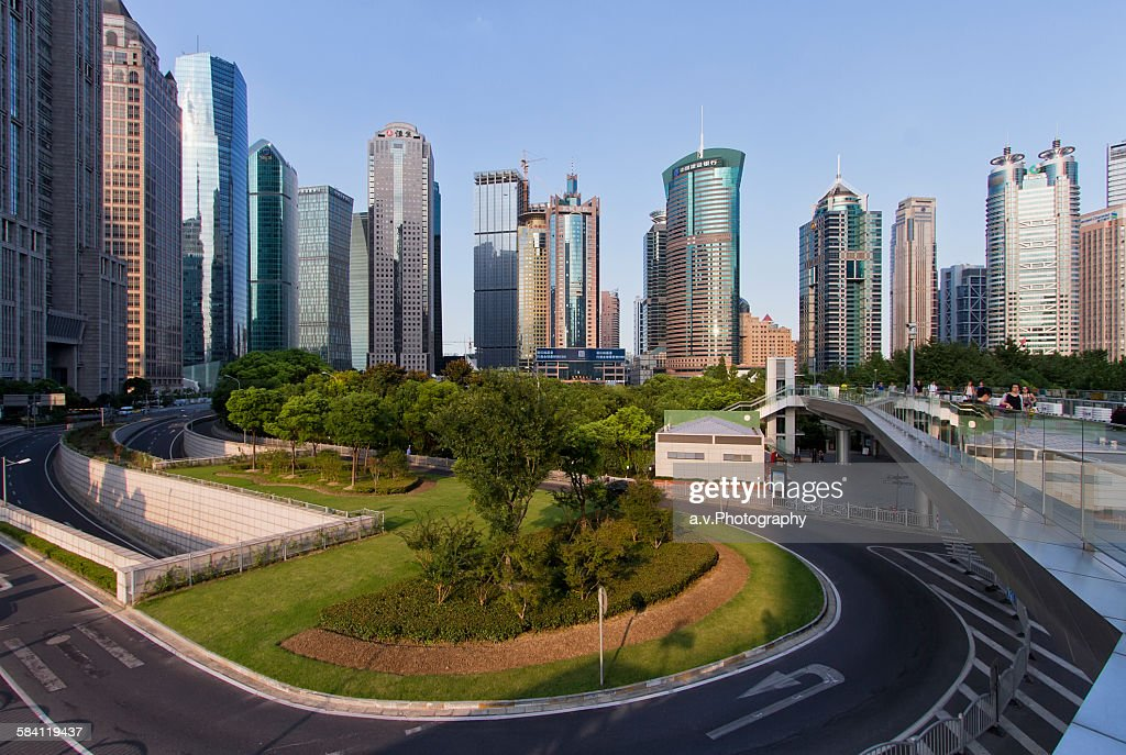 Lujiazui skyline with his high rise buildings : Stock Photo