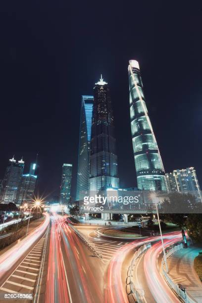 lujiazui traffic and cityscape in shanghai - miragec stock pictures, royalty-free photos & images