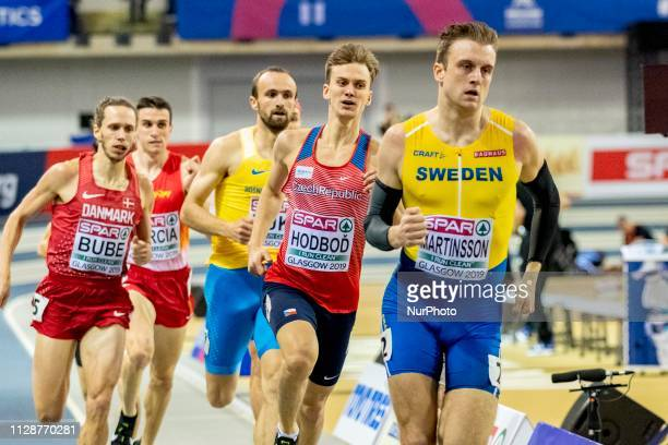 Luk and MARTINSSON Erik competing in the 800m Men event during day ONE of the European Athletics Indoor Championships 2019 at Emirates Arena in...