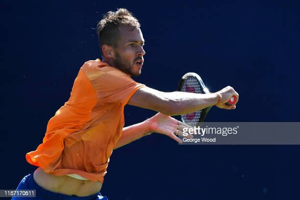 Lukáš Rosol of Czech Republic in action during his game against Mikael Ymer of Sweden during the Ilkley Trophy Day Four at Ilkley Lawn Tennis Squash...