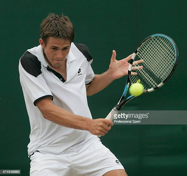 Luka Belic of Croatia in action against Hsin Han Lee of Taiwan during day nine of the Wimbledon Lawn Tennis Championships at the All England Lawn...