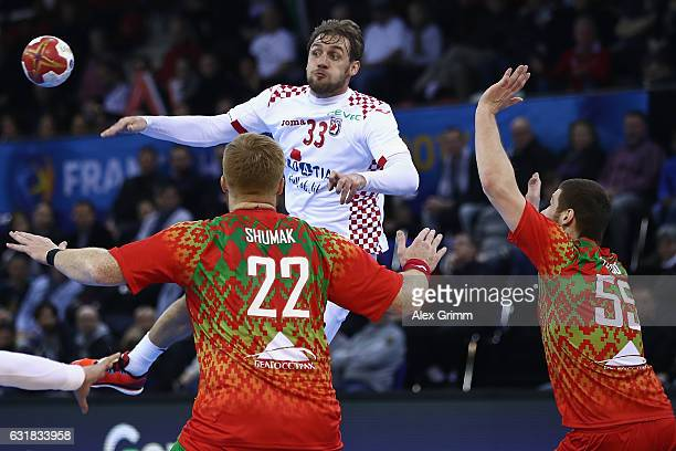 Luka Cindric of Croatia passes the ball during the 25th IHF Men's World Championship 2017 match between Croatia and Belarus at Kindarena on January...