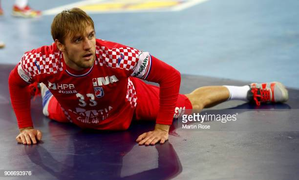 Luka Cindric of Croatia reacts during the Men's Handball European Championship main round match between Croatia and Belarus at Arena Zagreb on...
