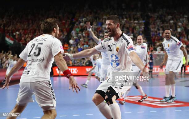 Luka Cindric Vuko Borozan and team mates of Vardar celebrate after the final whistle of the VELUX EHF FINAL4 final between Paris SaintGermain...