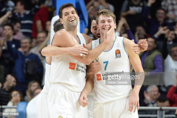 Luka Doncic #7 guard of Real Madrid and Felipe Reyes #9 forward of Real Madrid during the 2017/2018 Turkish Airlines Euroleague Regular Season Round...