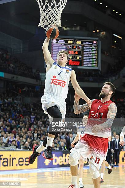 Luka Doncic #7 guard of Real Madrid and Miroslav Raduljica #11 center of EA7 Emporio Armani Milan during the 2016/2017 Turkish Airlines Euroleague...