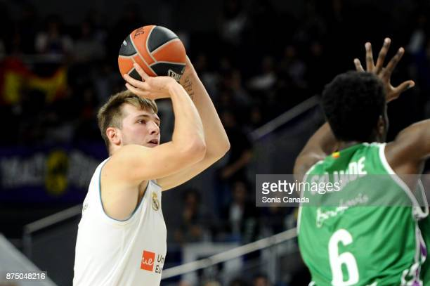 Luka Doncic #7 guard of Real Madrid during the 2017/2018 Turkish Airlines Euroleague Regular Season Round 8 game between Real Madrid v Unicaja Malaga...