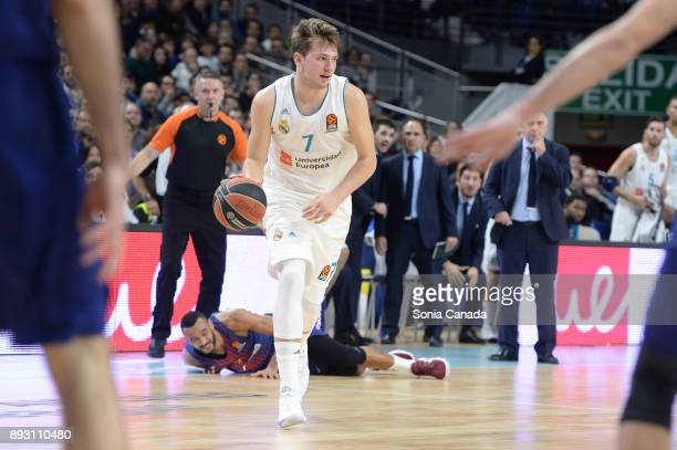 Luka Doncic #7 guard of Real Madrid during the 2017/2018 Turkish Airlines Euroleague Regular Season Round 12 game between Real Madrid v FC Barcelona...