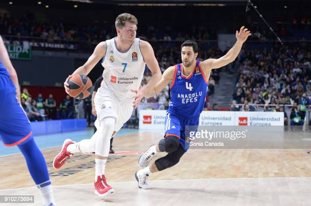 Luka Doncic #7 guard of Real Madrid during the 2017/2018 Turkish Airlines Euroleague Regular Season Round 20 game between Real Madrid v Anadolu Efes...