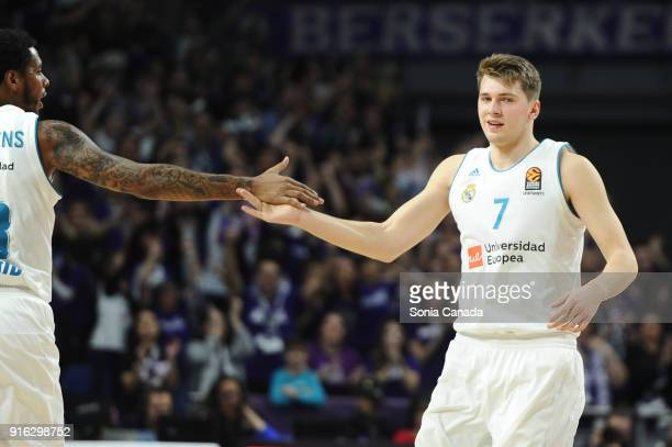 Luka Doncic #7 guard of Real Madrid during the 2017/2018 Turkish Airlines Euroleague Regular Season Round 22 game between Real Madrid v Olympiacos...