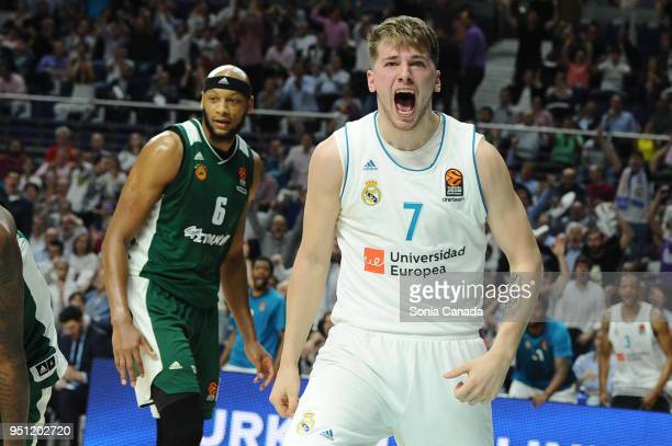 Luka Doncic #7 guard of Real Madrid during the 2017/2018 Turkish Airlines Euroleague Play Off Leg Three between Real Madrid v Panathinaikos...