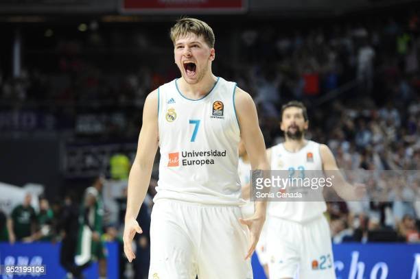 Luka Doncic #7 guard of Real Madrid during the 2017/2018 Turkish Airlines Euroleague Play Off Leg Four between Real Madrid v Panathinaikos Superfoods...