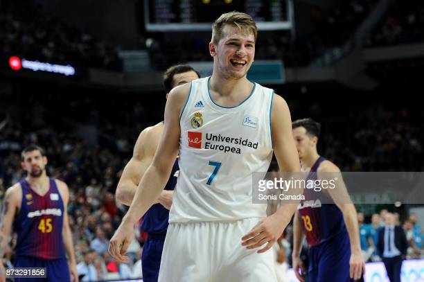 Luka Doncic #7 guard of Real Madrid during the Liga Endesa game between Real Madrid and FCB Lassa at Wizink Center on November 12 2017 in Madrid Spain